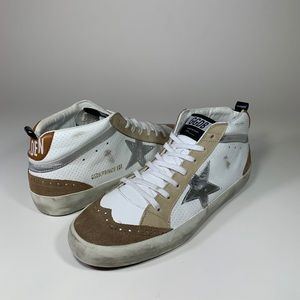 """Golden Goose """"Mid-Star"""" Distressed in White/Silver"""
